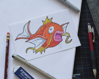 Pokemon Magikarp 4x6 marker drawing