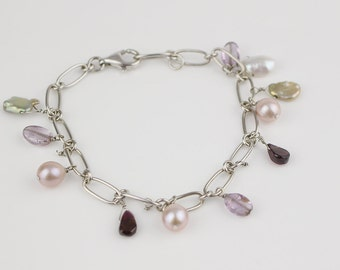 925 silver Long Link Charm Bracelet with Faux Pearls Shell and Semi Precious Stone Dangles