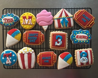 Circus Theme Birthday Sugar Cookies. Carnival Cookies. Order is for one dozen (12) cookies.
