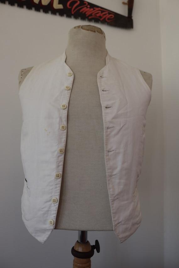 "Vintage 1930s 30s french white cotton waistcoat vest buckle back v notch 34"" chest monogram"