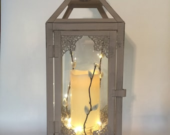 Medium Vintage lantern with candle/grey lantern/ivory candle/home decor/table centrepiece/hanging lantern/fairy light