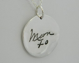 Handwriting Jewelry In Memory of Mom Double Pendant  Sterling Silver
