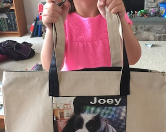 Photo Tote Bag - 2 collages - on zipper side and back... 1 to 8 photos each side - two tone bag with zipper - large bag 17.5in x14.5in  -