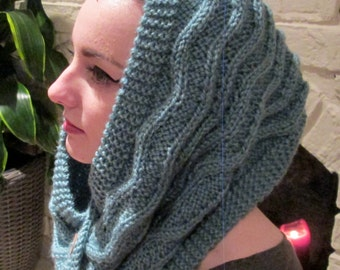 KNITTING PATTERN: Cowl, Hooded Cowl, Scarf - Instant PDF Download