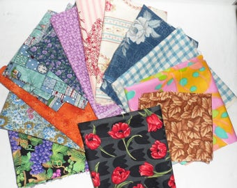 Cotton Fabric Scarps from Stash/Three Quarters of One Pound of Cotton Fabric/4 Patchwork Projects/Applique/Quilt Blocks/Scrap Cotton Fabric