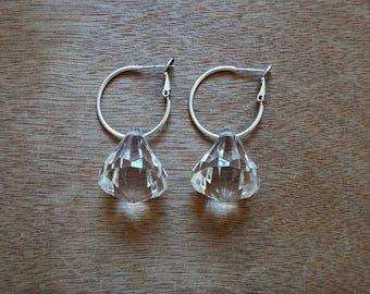 Crystal Drop Boho Hoop Earrings • Jodie Earrings • Gold plated brass • Acrylic Crystal • Dangle and drop handmade earrings • Hoop closure