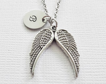 Angel Wings Necklace Heaven Christian Religious Two Wings Charm Silver Jewelry Personalized Monogram Hand Stamped Letter Disc
