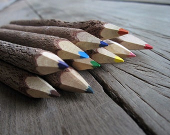 Wooden Colored Pencils Rustic Colorful Drawing Stationery Ready to give Gift for Kids Artist Nature Outdoor Lover