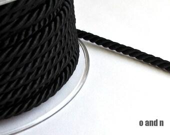 Twisted silk cord, 5mm, black satin rope, 2 meters