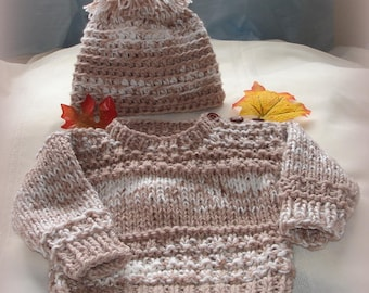 Custom hand knit baby boys sweater ,with tuque, caramel /cream color, 12 months, original design by kidsknits1,SOLD will take orders