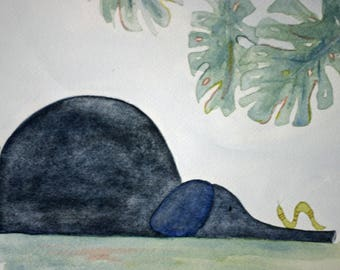 Elephant and inch worm original watercolor, children's art, nursery art, jungle, grey and green, matted, whimsical, large art