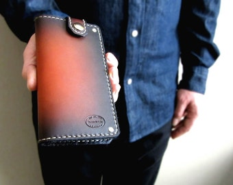 Mens Leather Wallet Sunburst Top Snap Long Coat Wallet Mens Wallet Chain Wallet Third Anniversary Custom Wallet Mens Fashion Monogrammed