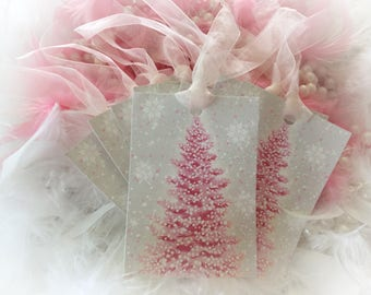 Set of 9 Pink Christmas Tree and Pink Ribbon Gift Bag Art Tags Ornaments Shabby Chic Retro Vintage Style Greeting Card Sweet Vintage Designs