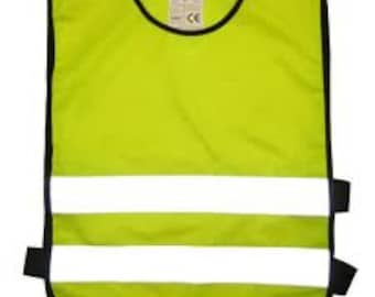 Child  Yellow Tabards Ideal For Printing or Embroidery Reflective  Hi Visibility  Safety 3 Sizes 3- 11 Years