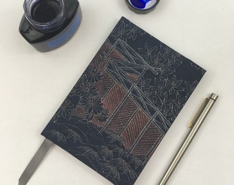 A6 lined Notebook hand covered in a vintage Japanese kimono silk fabric, blue and silver Palace Iris Garden