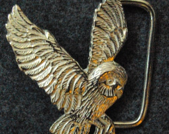 Solid Sterling Silver Owl Belt Buckle