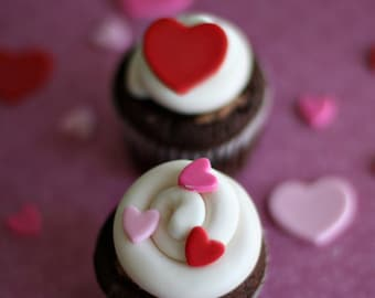 Valentine Fondant Hearts for Decorating Cupcakes, Cookies and Other Sweet Treats