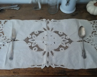 COTTON, long placemat, cotton placemat, handmade placemat, farmhouse decor, shabby chic, bohemian decor