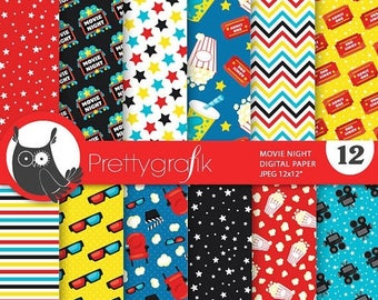 80% OFF SALE Movie night digital paper, commercial use, scrapbook papers, theatre, cinema - PS759