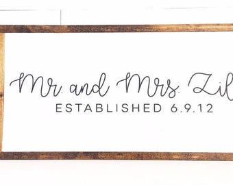 Mr. and Mrs. Last Name Established Date Framed Wood Sign