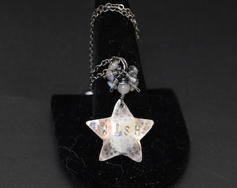 Wish Pendant Sterling Silver Star with Labradorite and Moonstone