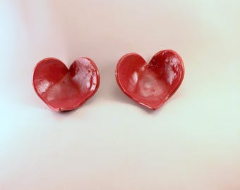 Red Heart-Shaped Trinket Dish Handmade from Stoneware.  These are Ready to Ship