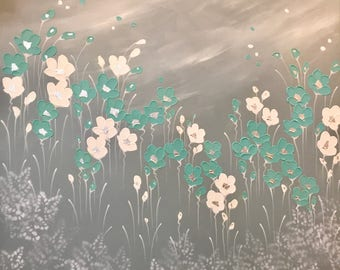 Maiden Hair Poppies painting by Naomi Crowther 100x100cm