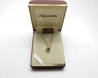 Vintage New Krementz 14K Gold Overlay Genuine Malachite Necklace in Original Box
