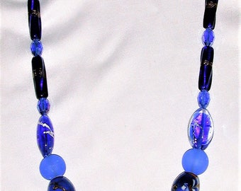 Vintage Czech, African Recycled Glass and Painted Beads Necklace OOAK