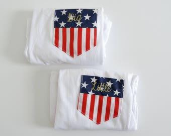 New American Flag Stars & Stripe Pocket Tee Set of 2 // Size S-2XL // You Pick Color tJqqnztMX