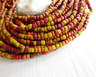 mix seed beads, yellow orange red glass bead, opaque gritty organic barrel rondelle Indonesian  bead - 1.5  to 4mm /  44 inch - 6bb5-10