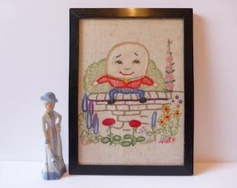 Humpty Dumpty embroidery 1940s needlework
