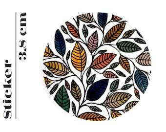 Round Sticker Floral Leaf Illustration 3,8 cm (P01 006)