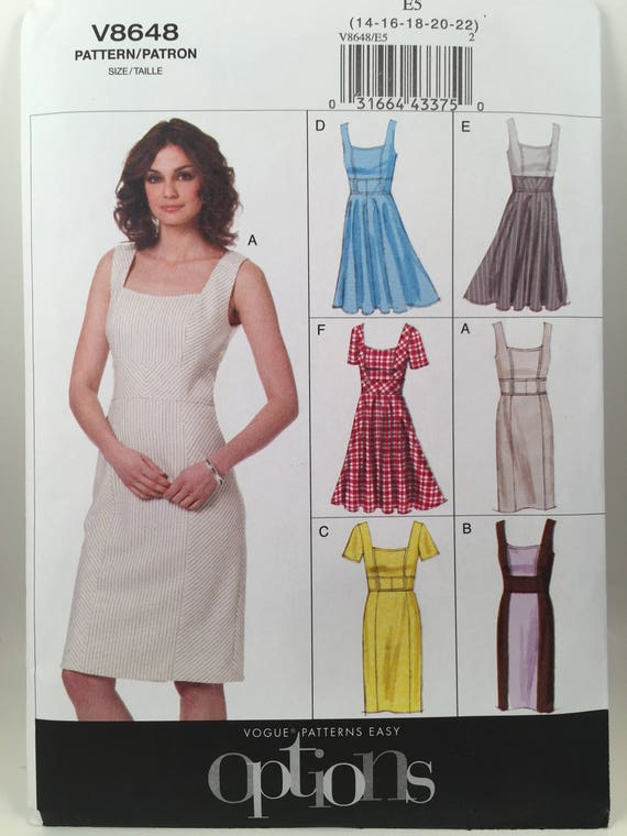 Dress Pattern Vogue 8648 Sewing Pattern Square Neck Dress