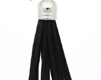 2 PomPoms 6 cm black faux suede