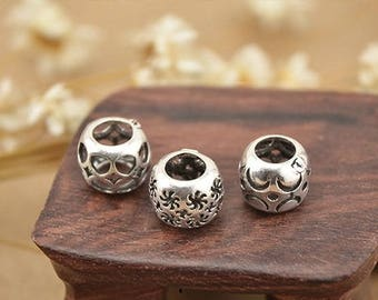 8mm 925 sterling silver big hole beads, antique silver ethnic beads,hollow out beads bracelet diy