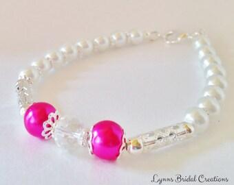 Pink Pearl Wedding Bracelet Wedding Jewelry Pink Jewelry Hot Pink Bracelet Bridesmaid Gift Bridesmaid Jewelry Crystal Bracelet Jewelry Set