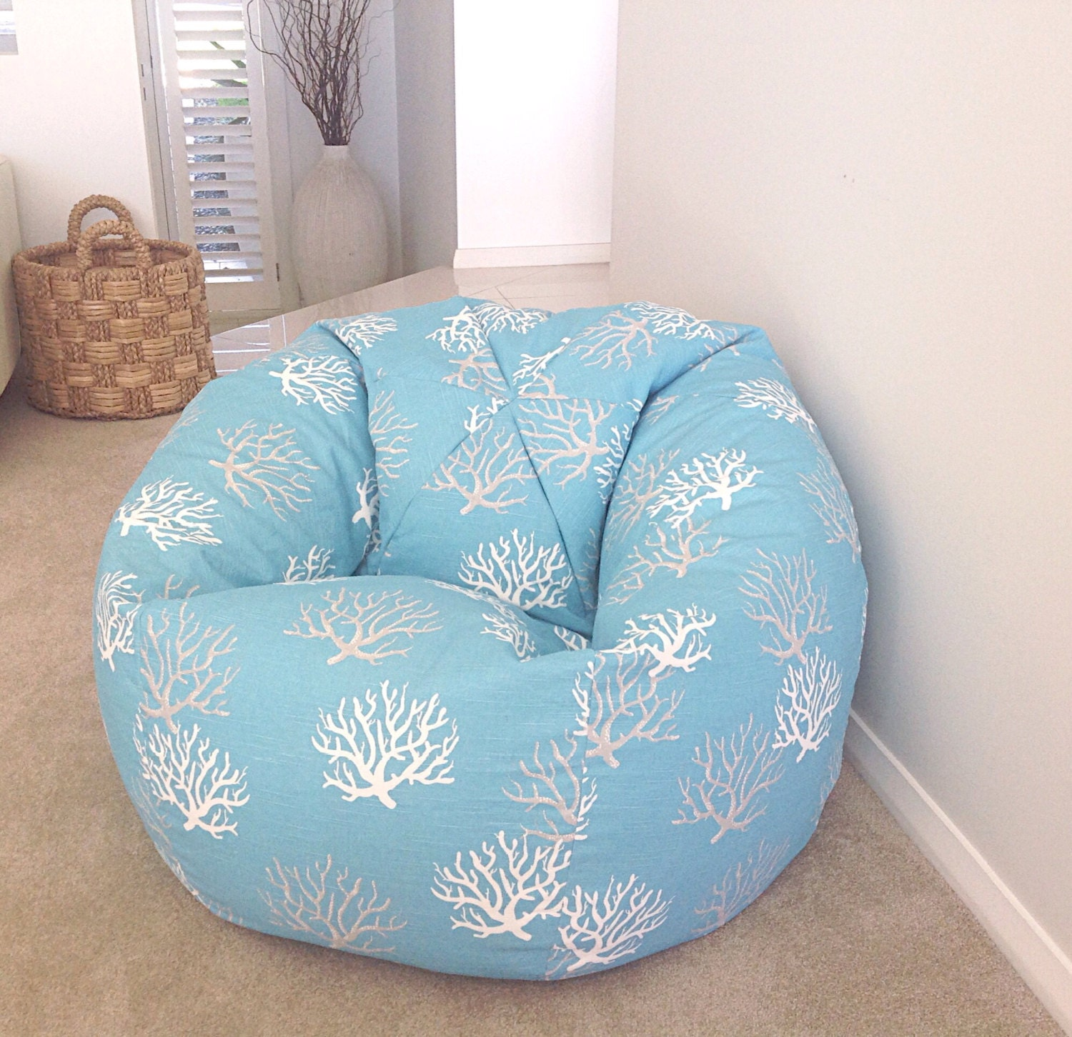 Bean Bag Coastal Style Turquoise Kids Adults Cover
