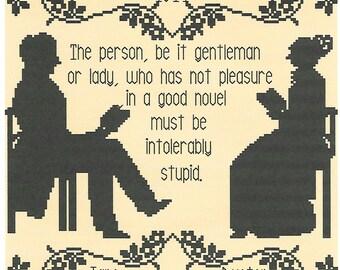 A Good Book/ A Jane Austen Quotation cross stitch chart