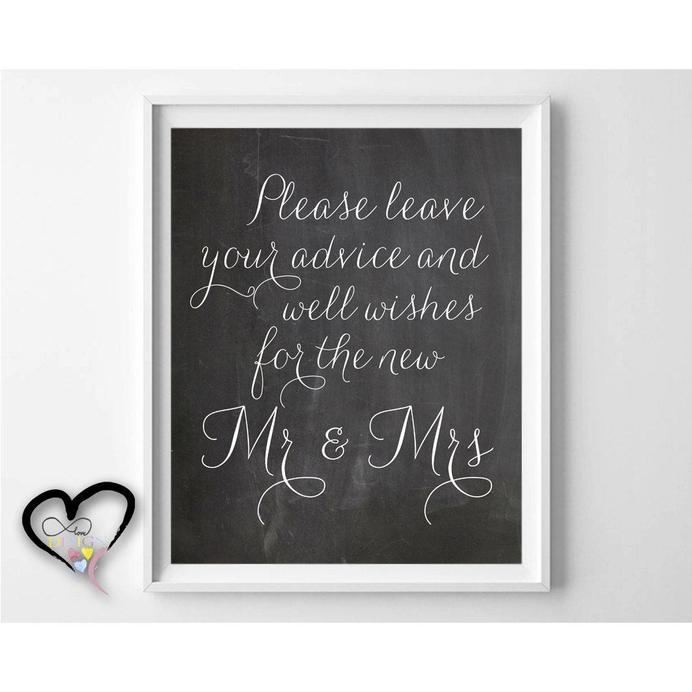 leave your advice and well wishes wedding advice sign