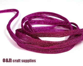Purple wire mesh ribbon, metallic tubular ribbon, 3 meters