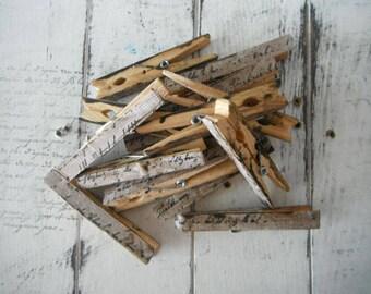 mariage faveurs vieilli à linge decoupaged linge français chevilles script patiné teintés épingles vêtements patères chalet chevilles en bois décor shabby chic - 8