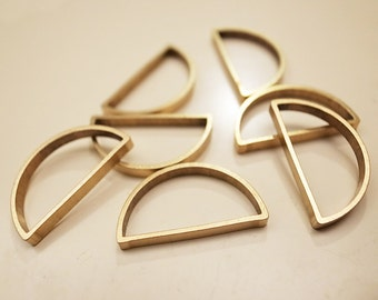10 pieces of newly made cut raw brass tube outline charm in shape half circle 22x12x2.5mm