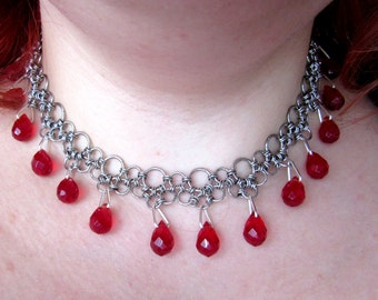 Stainless Steel Japanese Chainmail Gothic Vampire Choker with Red Glass Crystal Drops