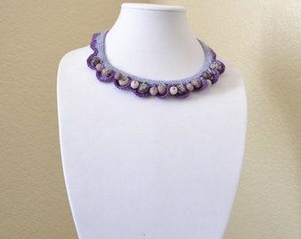 Purple crochet statement necklace