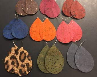 Cork Earrings - Teardrop Shaped Earrings - Ultra-Lightweight, Eco-Friendly, Sustainable Fashion