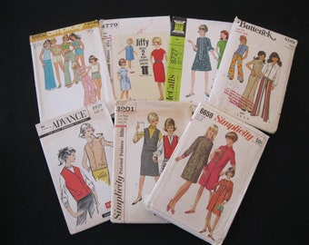 Lot of Seven Retro Teen's Patterns in sizes 10 - 12, grab bag lot with patterns NOT examined for completeness, dates from 1960's thru 1970's
