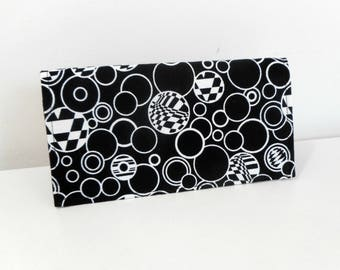 Duplicate Checkbook Cover, Black and White Check Book Cover, Fabric Checkbook Cover