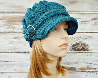 Crochet Hat Blue Womens Hat Blue Hat Blue Newsboy Hat - Oversized Monarch Ribbed Crochet Newsboy Hat - Womens Accessories