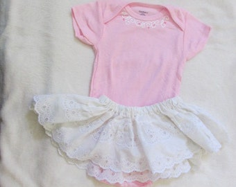 Eco-Friendly Summer Super pretty girls 6-9 month pink onesie with handmade white eyelet skirt. Baby Girl